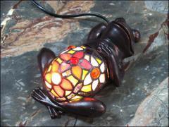 LAMPA WITRAŻOWA TIFFANY - ŻABKA NA SZCĘŚCIE - zdjęcie 1
