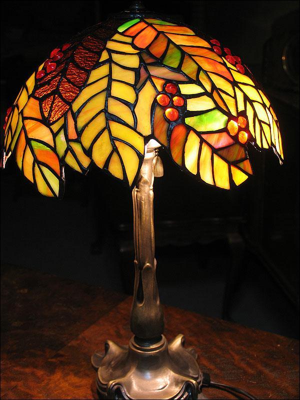 LAMPA WITRAŻOWA TIFFANY 50CM JESIENNY LIŚĆ