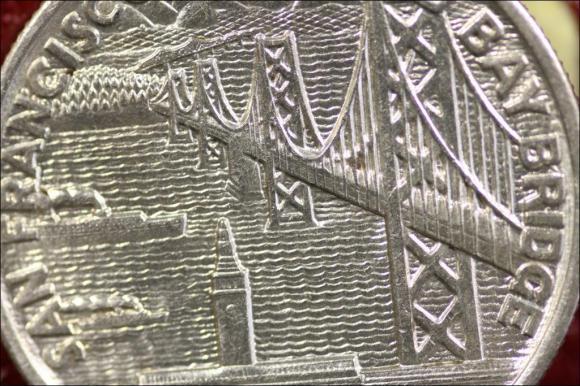 1936 - BAY BRIDGE OAKLAND SAN FRANCISCO PÓŁ DOLLARA AM.