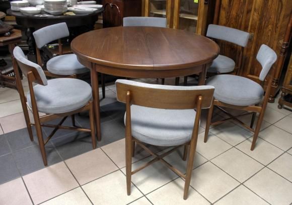 Stół + 6 krzeseł / DUŃSKI MODERNIZM / lb Kofod Larsen